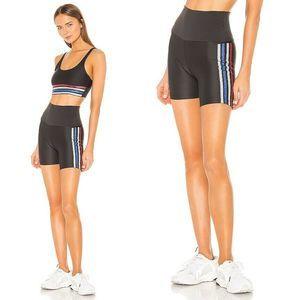 BEACH RIOT Bike Shorts XS High Waist Glitter Stripe Stretch Activewear Black NWT